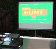 MAME on an X-Arcade Tankstick, projected outdoors!
