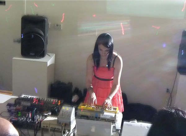 Four chiptune artists including ComputeHer (pictured) provided the event's soundtrack
