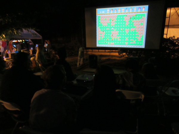 After the movies it was time for 10-player Saturn Bomberman on the big screen!