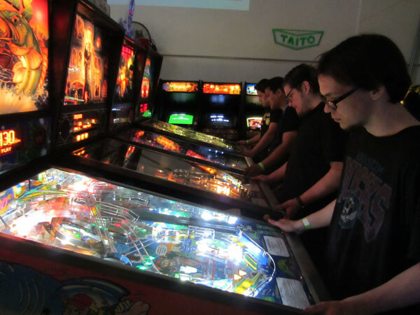 2084's row of pinball machines was constantly occupied